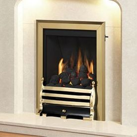 MID-DEPTH HIGH-EFFICIENCY CLASSIC GAS FIRE - GLASS FRONTED (BRASS FINISH + AXTON BRASS FRET)