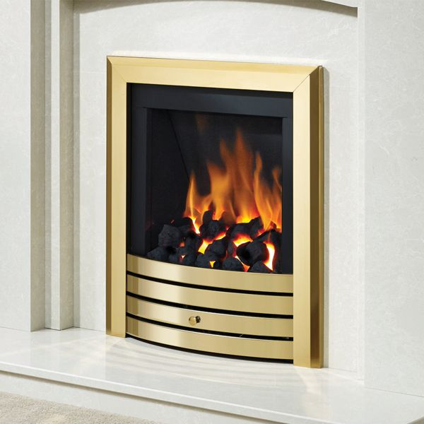 DEEPLINE HIGH EFFICIENCY DESIGN FASCIA GAS FIRE - GLASS FRONTED (BRASS FINISH)
