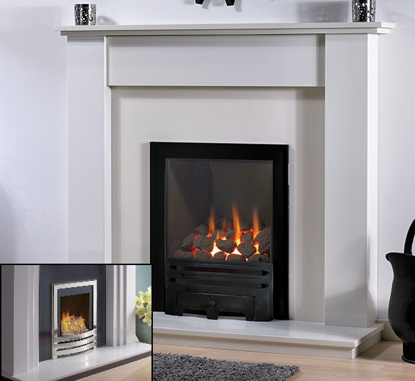 'THE SANDERSON' MARBLE FIREPLACE WITH FLAVEL WINDSOR INSET GAS FIRE
