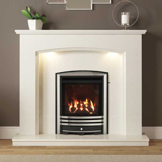 SLIMLINE-RADIANT CAST FASCIA GAS FIRE (CHROME FINISH)