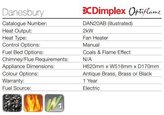 DIMPLEX DANESBURY OPTIFLAME ELECTRIC INSET FIRE