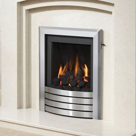 SLIMLINE-RADIANT DESIGN FASCIA GAS FIRE (BRUSHED STEEL FINISH)