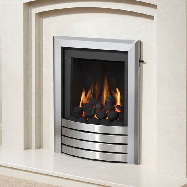 DEEPLINE CONVECTOR DESIGN FASCIA GAS FIRE (BRUSHED STEEL FINISH)