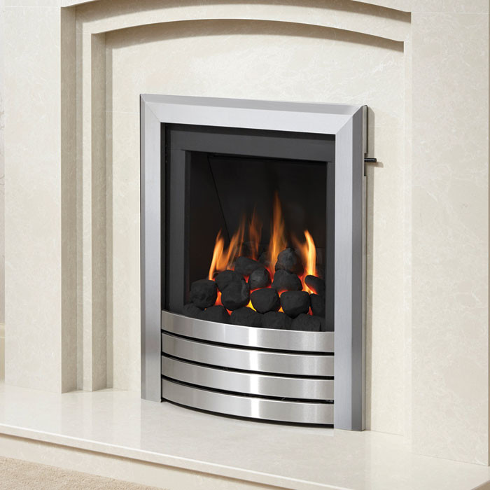 DEEPLINE-RADIANT DESIGN FASCIA GAS FIRE (BRUSHED STEEL FINISH)