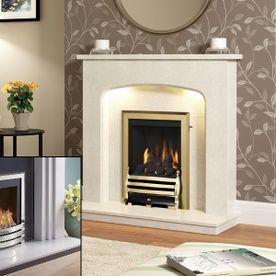 BE MODERN TASMIN MARBLE FIREPLACE WITH FLAVEL WINDSOR INSET GAS FIRE