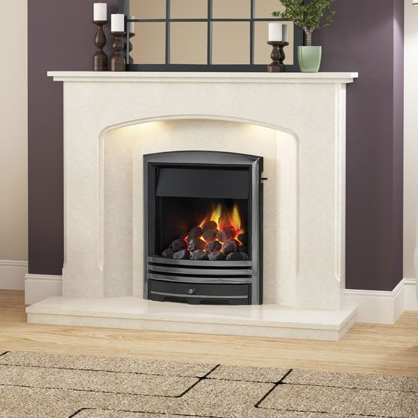 MID-DEPTH HIGH EFFICIENCY CAST FASCIA GAS FIRE - GLASS FRONTED (NICKEL FINISH)