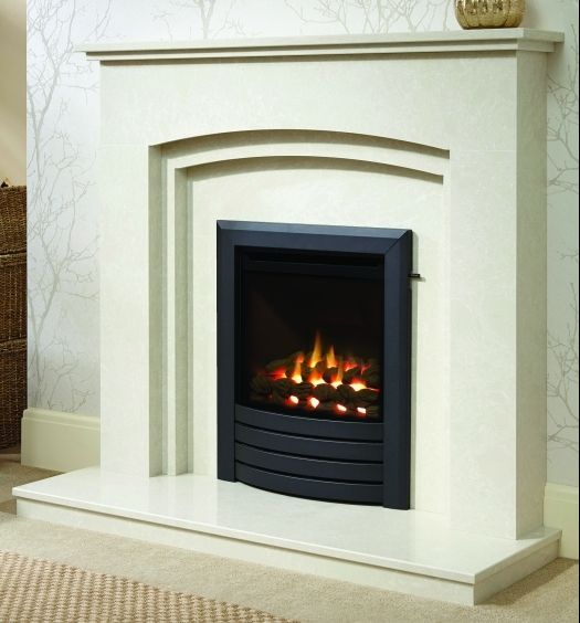 MID-DEPTH HIGH EFFICIENCY DESIGN FASCIA GAS FIRE - GLASS FRONTED (BLACK FINISH)