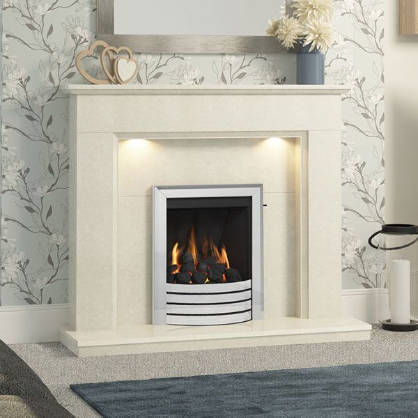 MID-DEPTH HIGH EFFICIENCY DESIGN FASCIA GAS FIRE - GLASS FRONTED (CHROME FINISH)