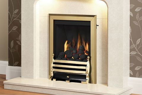 SLIMLINE-RADIANT CLASSIC GAS FIRE (BRASS FINISH + MAISIE CHROME FRET)