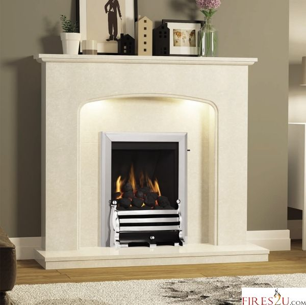 BALANCED FLUE CLASSIC GAS FIRE (CHROME FINISH + AXTON BLACK/CHROME FRET)