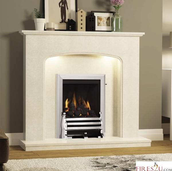 SLIMLINE-RADIANT CLASSIC GAS FIRE (CHROME FINISH + AXTON BRASS FRET)