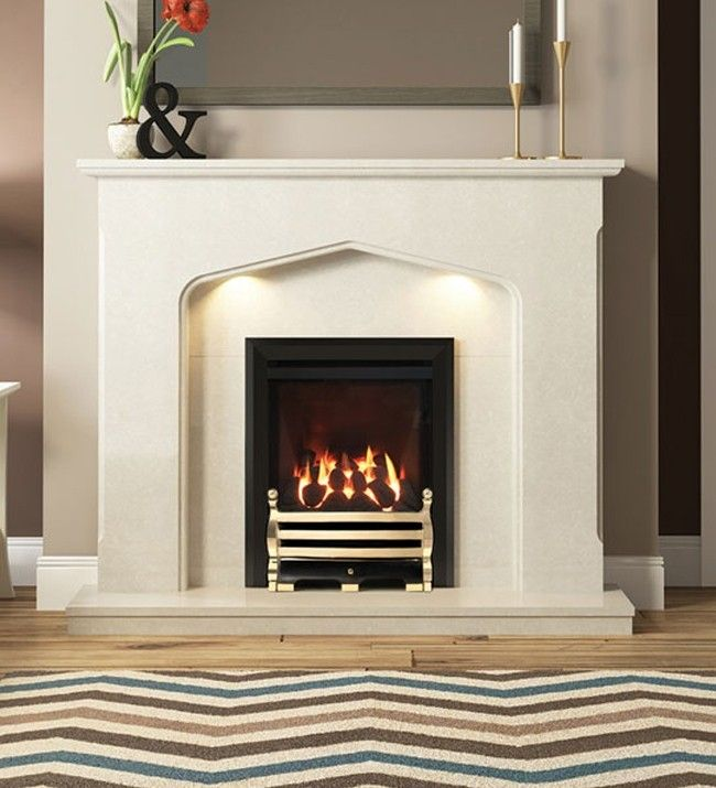 DEEPLINE-CONVECTOR CLASSIC GAS FIRE (BLACK FINISH + ECHO BRASS FRET)