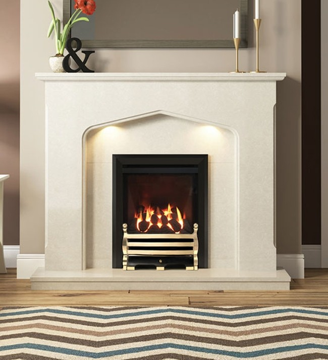 SLIMLINE-RADIANT CLASSIC GAS FIRE (BLACK FINISH + AXTON BRASS FRET)