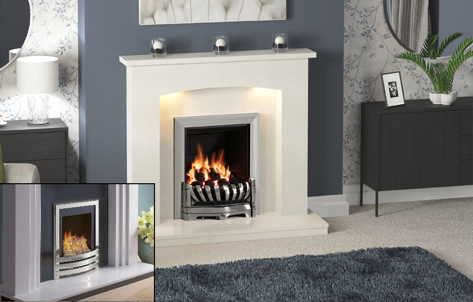 BE MODERN ISABELLA MARBLE FIREPLACE WITH FLAVEL WINDSOR INSET GAS FIRE