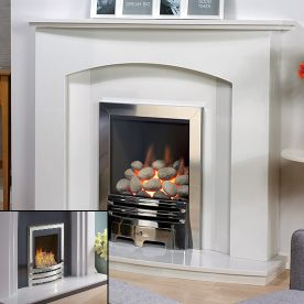 'THE PARIS' MARBLE FIREPLACE WITH FLAVEL WINDSOR INSET GAS FIRE