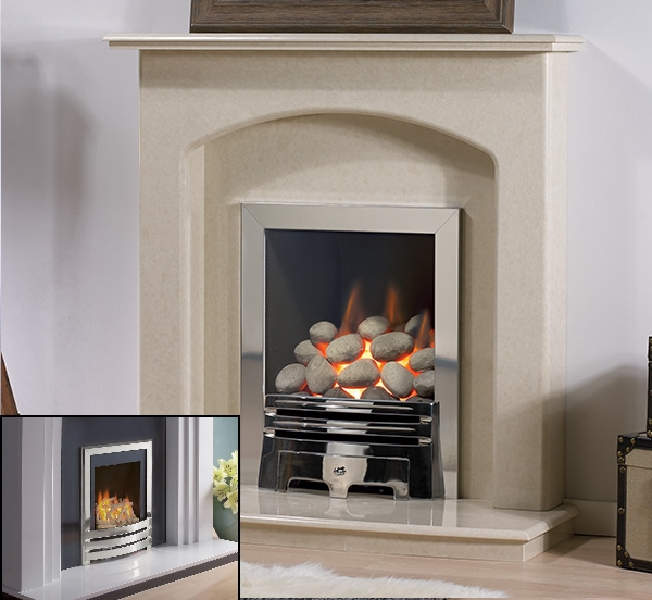 'THE STAMFORD' MARBLE FIREPLACE WITH FLAVEL WINDSOR INSET GAS FIRE