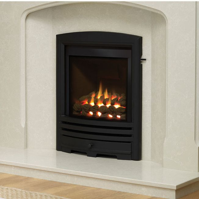 SLIMLINE-RADIANT CAST FASCIA GAS FIRE (BLACK FINISH)